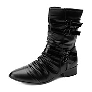 Men's Boots Spring Fall Comfort Leatherette Casual Flat Heel Black