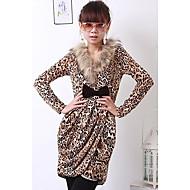 v-izrez leopard-print haljina žuta