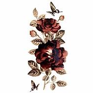 billiga Temporära tatueringar-#(1) Tatueringsklistermärken tillfälliga tatueringar Blomserier Vattentät Body art / Glitter / Mönster