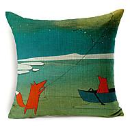 カントリースタイルの凧フライングフォックスパターンコットン/リネン装飾的な枕カバー