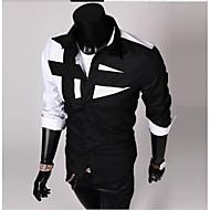 Men's Cotton Slim Shirt - Color Block Black & White, Patchwork Spread Collar Black XL / Long Sleeve / Spring / Fall