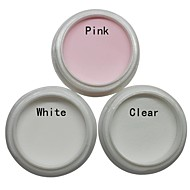 3pcs nail art acrylic powder sets white pink clear