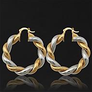 Brincos Compridos Brincos em Argola bijuterias Pedaço de Platina Chapeado Dourado Jóias Para Casamento Festa Diário Casual Esportes