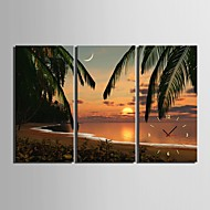 E-HOME® Beach Sunset Scenery Clock in Canvas 3pcs Wall Clocks