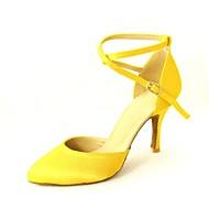 billige Moderne sko-Dame Moderne sko / Ballett / Standard sko Sateng Høye hæler Spenne Kustomisert hæl Kan spesialtilpasses Dansesko Gul / Fuksia / Lilla