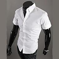 Kortærmet Herre Ensfarvet Afslappet/Hverdag Plusstørrelser Skjorte,Bomuld Polyester