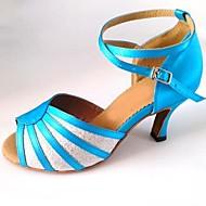 baratos Sapatilhas de Dança-Mulheres Sapatos de Dança Latina Glitter / Cetim Sandália Salto Personalizado Personalizável Sapatos de Dança Vermelho / Castanho / Sliver e azul