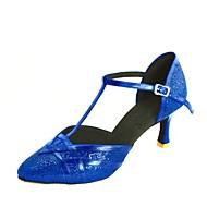 billige Moderne sko-Dame Moderne sko / Standard sko Glimtende Glitter / Paljett Høye hæler Spenne Kustomisert hæl Kan spesialtilpasses Dansesko Sølv / Blå / Gull