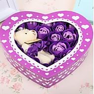 Valentinsdag gave romantiske 20pcs elsker roser såpe blomster med en bjørn