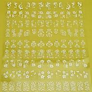 preiswerte -1x 108 Stück 3d weiße Blume Nail Art Aufkleber