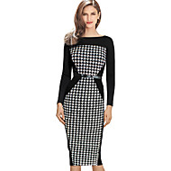 Women's Sophisticated Sheath Dress - Check, Patchwork
