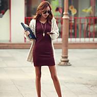 צווארון V מעל הברך אחיד - שמלה צינור רזה כותנה סגנון רחוב בגדי ריקוד נשים
