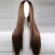Naisten Synteettiset peruukit Pitkä Tumman ruskea Keskijakaus Cosplay-peruukki Luonnollinen peruukki puku Peruukit