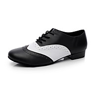 "Men's Swing Shoes Ballroom Leather Heel Flat Heel Black and White Under 1"" Non Customizable"