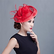 cheap Headpieces-Material Tulle Feather Fascinators Flowers Headpiece with Fur Party Headpiece