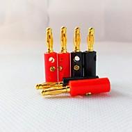 Alto-falantes estéreo plugue de plástico cobrança em forma de lanterna dourados 4 milímetros (1 + 1 vermelho preto)