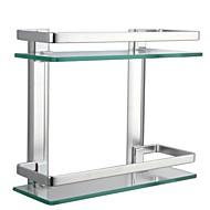 preiswerte Ablagen-Badezimmer Regal / Aluminium Aluminium Gehärtetes Glas /Zeitgenössisch