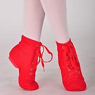 billige Jazz-sko-Dame Jazz-sko / Ballett Lerret Støvler Snøring Flat hæl Kan ikke spesialtilpasses Dansesko Svart / Hvit / Rød