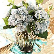 お買い得  造花-グレーの花瓶と5青hygrangeas人工花を