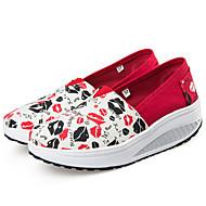 Damă Pantofi Pânză Primăvară Vară Toamnă Iarnă Mocasini & Balerini Plimbare Toc Pană Vârf rotund Pentru Casual Roșu/alb