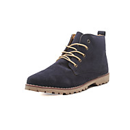 "cheap Small Size Shoes-Men's Shoes Leather Winter Fall Combat Boots Comfort Boots 2""-4""(Approx.5.08cm-10.16cm) Booties/Ankle Boots Lace-up for Casual Black Blue"