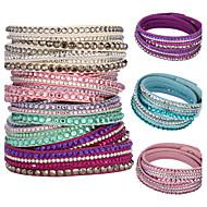 Žene Kristal Kristal Koža Zamotajte Narukvice - Jedinstven dizajn Osnovni Više slojeva Circle Shape Jewelry Pink Svjetloplav Svijetlo