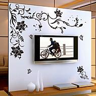 květiny Komiks Samolepky na zeď Samolepky na stěnu Ozdobné samolepky na zeď, Vinyl Home dekorace Lepicí obraz na stěnu Stěna