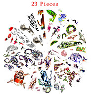 23PCS Mixed Patterns Temporary Tattoos Sticker Women Girl Flower Animal Tattoos Arm Neck Tattoos