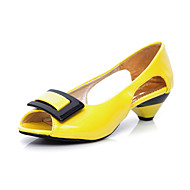 Women's Shoes Patent Leather Low Heel Peep Toe Pumps/Heels Dress Black/Blue/Yellow/Green/Pink/White