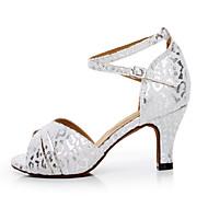 baratos Sapatilhas de Dança-Mulheres Sapatos de Dança Latina Camurça / Seda Sandália Presilha Salto Agulha Personalizável Sapatos de Dança Branco / Vermelho / Couro