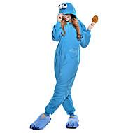 Kigurumi-pyjamas Cookie Anime Onesie-pyjamas Kostume Polarfleece Blå Cosplay Til Voksne Nattøj Med Dyr Tegneserie Halloween Festival /