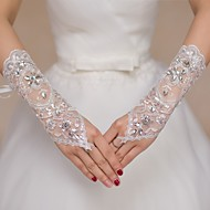 cheap Wedding Gloves-Lace Elbow Length Glove Bridal Gloves Party/ Evening Gloves Flower Girl Gloves With Rhinestone Sequin