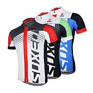 Arsuxeo Homme Manches Courtes Maillot Velo Cyclisme - noir / vert Noir / bleu. Blanc + rouge. Cyclisme Maillot Hauts / Top Respirable Séchage rapide Design Anatomique Des sports 100 % Polyester VTT
