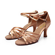 cheap Dance Shoes-Women's Latin Salsa Ballroom Satin Sandal Buckle Customized Heel Nude Black Silver Brown Gold Customizable