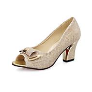 baratos Sapatos Femininos-Mulheres Sapatos Courino Primavera / Verão Conforto Saltos Caminhada Salto Robusto Dedo Aberto Presilha Dourado / Prata / Rosa claro