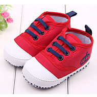 cheap Baby Shoes-Boys' Girls' Baby Shoes Fabric Spring Fall First Walkers Flats For Casual Outdoor Dress White Red