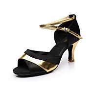 Women's Latin Salsa Ballroom Satin Sandal Buckle Customized Heel Red Silver Gold Customizable