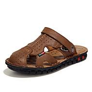 お買い得  メンズサンダル-男性用 靴 レザー / 合皮 春 / 夏 コンフォートシューズ サンダル ブラック / Brown / カーキ色