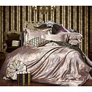 billige Luksuriøse dynetrekk-Sengesett Ensfarget 4 deler Polyester/Bomull Mønstret Polyester/Bomull 1stk Dynetrekk 2stk Trekk 1stk Flatt Laken