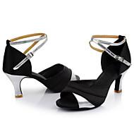 Dame Sko til latindans / Dansesko Satin Hæle Snøring Cubanske hæle Kan tilpasses Dansesko Rød / Sølv / Gyldent / Indendørs / Ydeevne / Læder