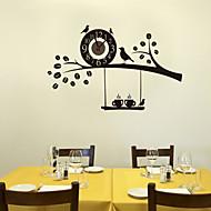 木壁時計の家の壁の装飾に1pc黒いdiyの鳥