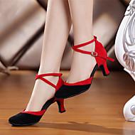 """billige Moderne sko-Dame Moderne Fløyel Syntetisk Høye hæler Innendørs Pels Stiletthæl Svart og Rød Kongeblå 2 """"- 2 3/4"""" Kan ikke spesialtilpasses"""