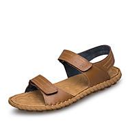 Homens sapatos Couro Primavera Verão Presilha Rendado para Casual Preto Marron