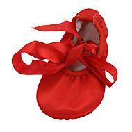 billige Ballettsko-Dame Balett / Ballettsko / Yoga Sateng Flate Sløyfe Flat hæl Kan ikke spesialtilpasses Dansesko Rød / Brun / Innendørs