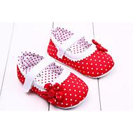 Para Meninas Bebê Rasos Primeiros Passos Tecido Primavera Outono Casual Social Primeiros Passos Flor Velcro Vermelho Rosa Laranja