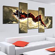 billiga Människomålningar-Hang målad oljemålning HANDMÅLAD - Abstrakt Duk Fem paneler