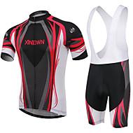 ieftine -XINTOWN Bărbați / Pentru femei Manșon scurt Jerseu Cycling cu Colanți - Rosu / Albastru Bicicletă Pantaloni Scurți Padded / Set de Îmbrăcăminte, 3D Pad, Respirabil / Înaltă Elasticitate