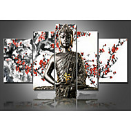 billiga Människomålningar-HANDMÅLAD Abstrakt Fem paneler Kanvas Hang målad oljemålning For Hem-dekoration