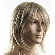 Mężczyzna Peruki syntetyczne Tkany maszynowo Bez czepka Krótki Proste Blonde Część Boczna Z grzywką Karnawałowa Wig Peruka naturalna