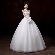 De Baile Sem Alças Longo Tulle Over Lace Vestidos de noiva personalizados com Renda de Embroidered Bridal